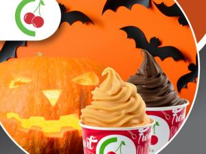 branded cup of yogurt with bats and a jack o lantern