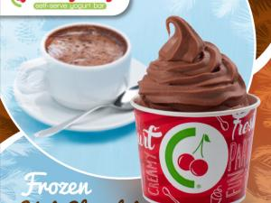 branded cup of chocolate yogurt with frozen hot chocolate cup